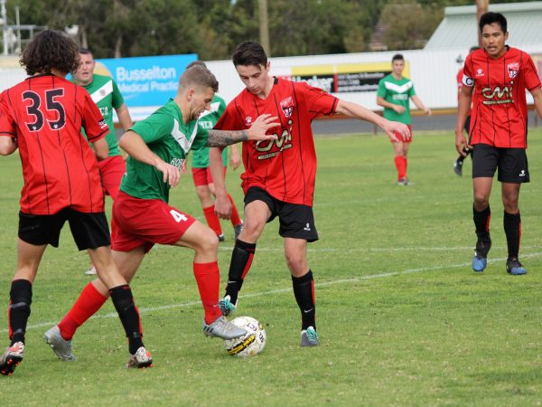 Busselton City's Lochie Armstrong proved to be a handful for opposition defenders.