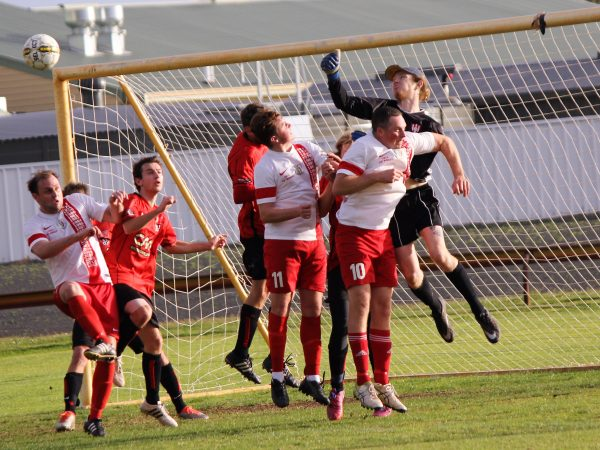 Busselton City goalkeeper Jesse Gunnis in action in the Premier League game on Sunday.
